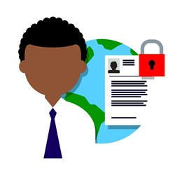 Man with globe and application form with padlock