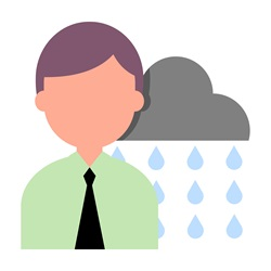 Man with rain falling from cloud