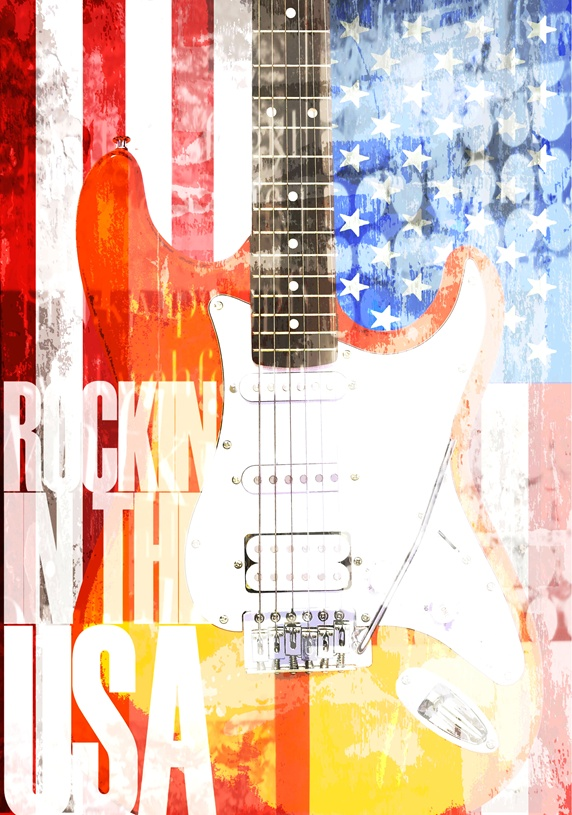 Electric guitar against American flag