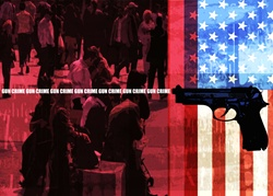 Crowded street, American flag, handgun and sign 'gun crime'