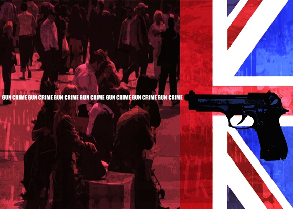 Crowded street, British flag, handgun and sign 'gun crime'
