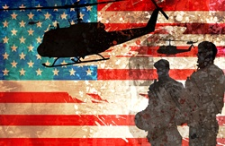 Silhouettes of soldiers and helicopters against American flag