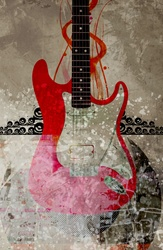 Electric guitar against abstract background