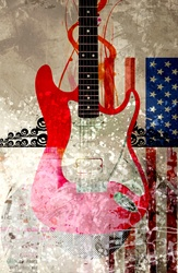 Electric guitar against abstract background and american flag