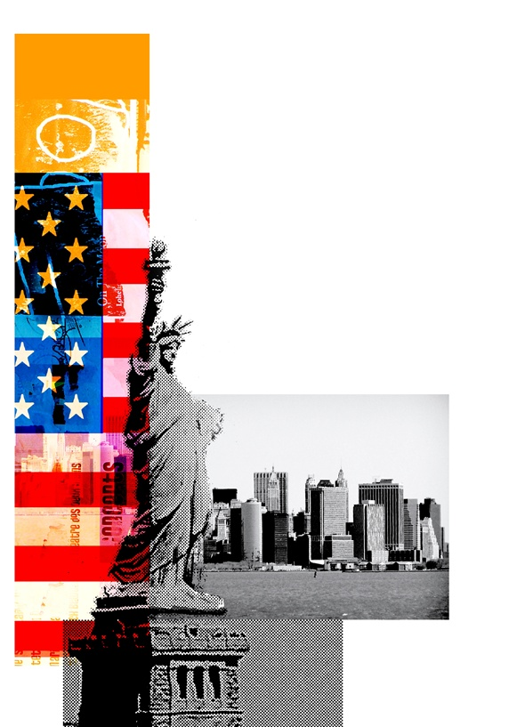 Statue of Liberty, American flag and cityscape on white, New York City, New York, USA