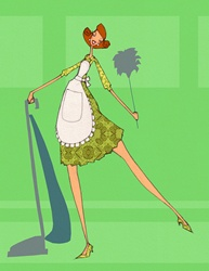 Smiling retro housewife looking at camera with feather duster and vacuum cleaner