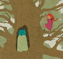Girl meets owGirl climbing tree watching owl
