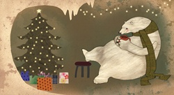 Polar bear sitting with coffee mug by Christmas tree