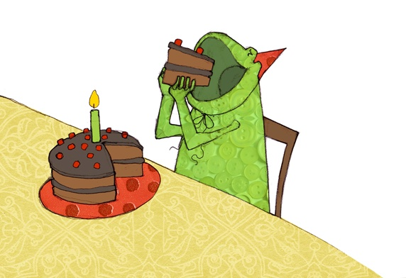 Frog eating birthday cake slice