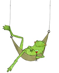 Frog lying in hammock with drink glass