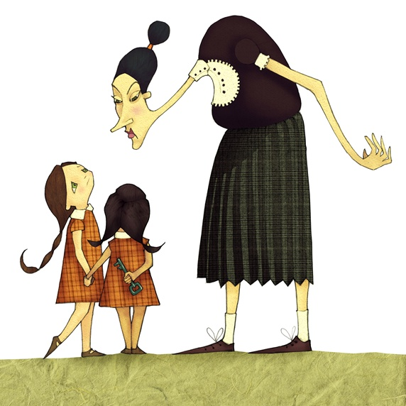 Woman scolding two girls