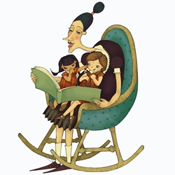 Woman in rocking chair reading story book to girls sitting on lap