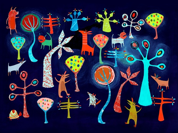 Bright color childhood pattern of animals and trees