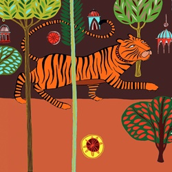 Tiger, trees and buildings