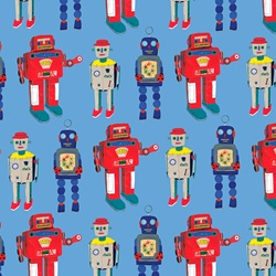 Pattern of different retro robot toys standing in a row