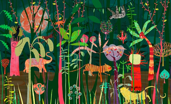 Wild animals in lush bright color jungle