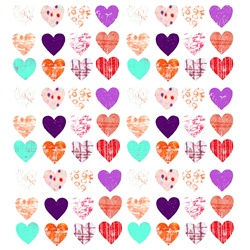 Colorful, patterned hearts