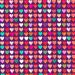 Seamless background pattern of rows of hearts