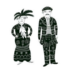 Man and woman in ornate clothes