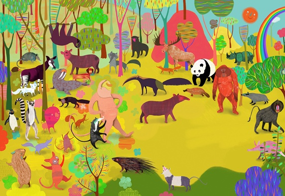 Lots of different animals in colorful jungle