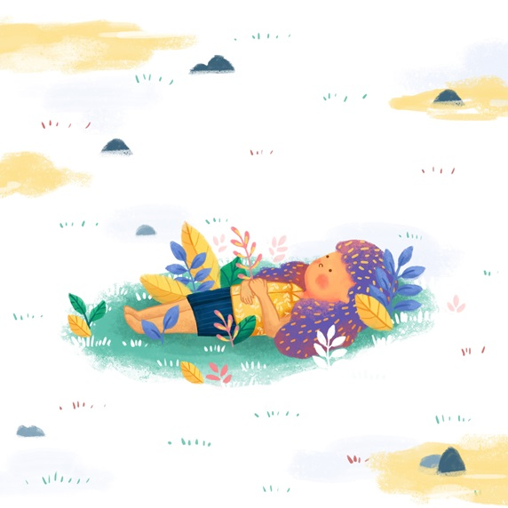 Girl lying in meadow