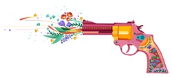 Gun shooting with flowers