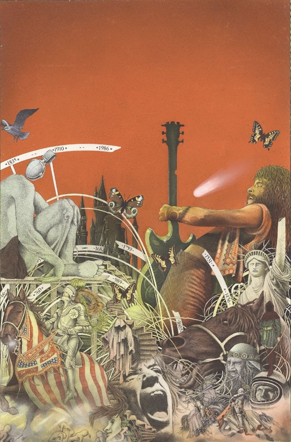 Fantasy image of various creatures and man with electric guitar, red background