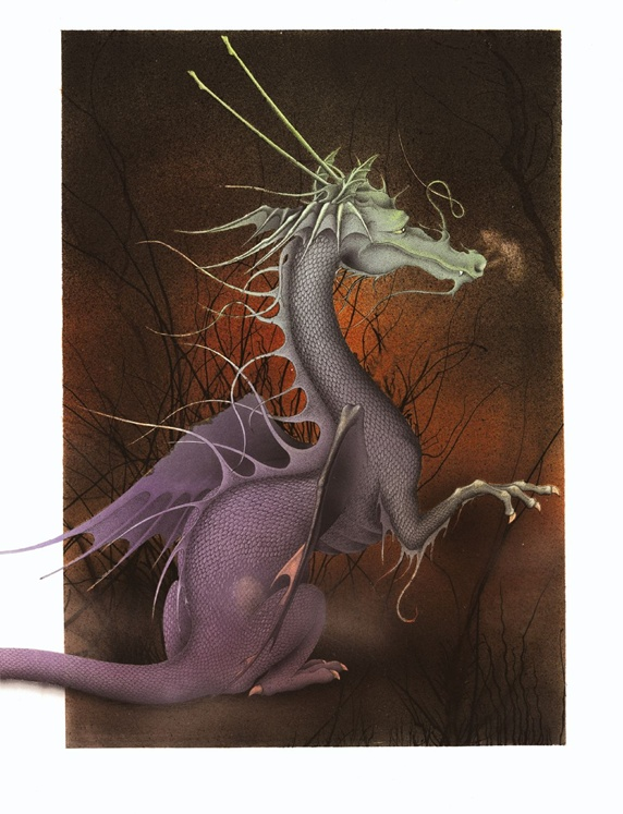 Fantasy image of calm grey dragon against brown background