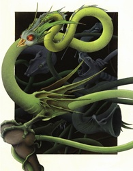 Fantasy image of green snake dragon with bird head
