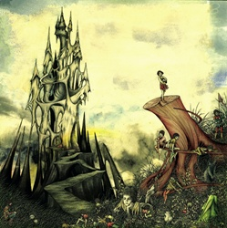 Fantasy image of old castle and elves on tree trunk