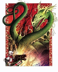 Fantasy image of knight on horse confronting green dragon, red background