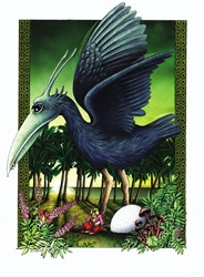 Fantasy image of large bird with egg in garden