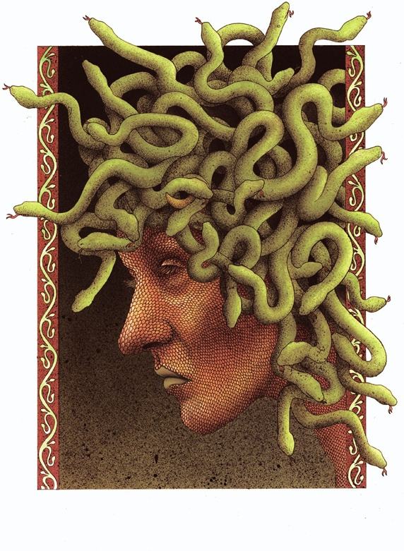 Fantasy image of head with snake hair