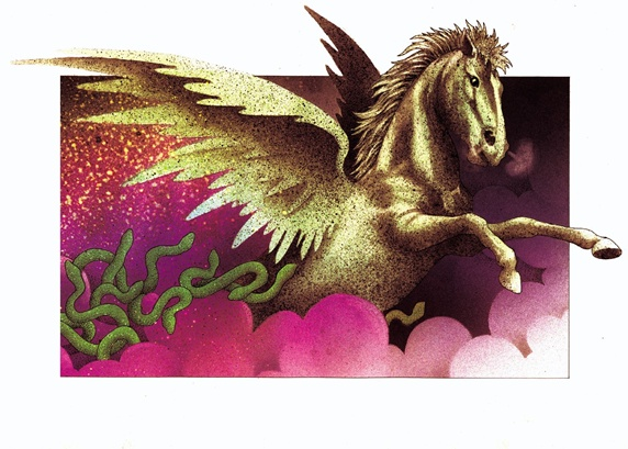Fantasy image of gold pegasus in pink clouds
