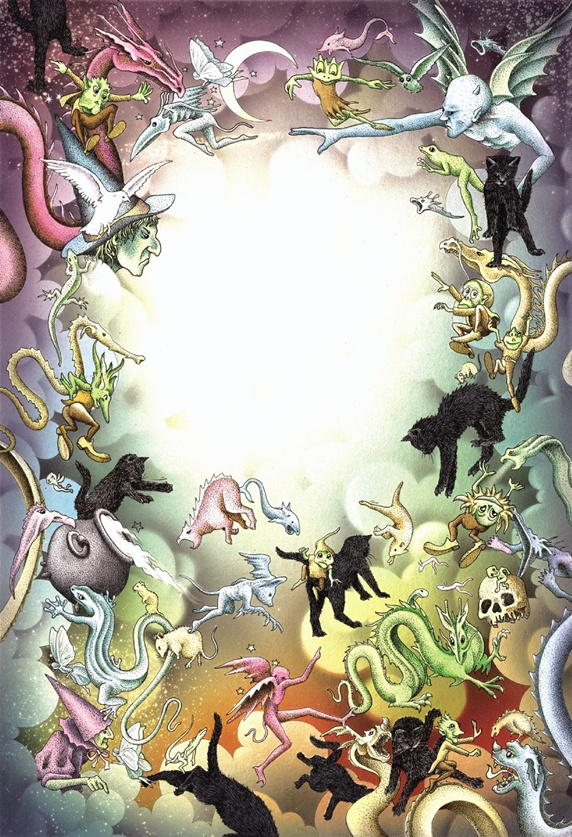 Fantasy image of various creatures in circle