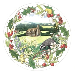 Christmas wreath with view of countryside