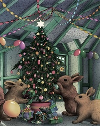 Hares decorating christmas tree