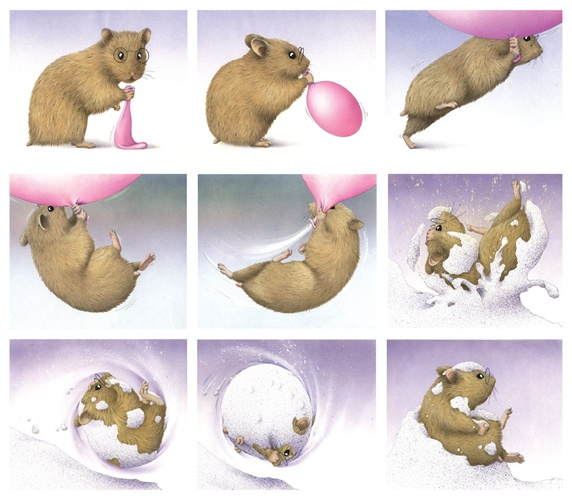 Mouse playing with balloon in winter landscape