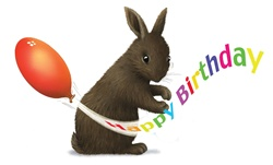 Hare with balloon and birthday wishes sign on white background