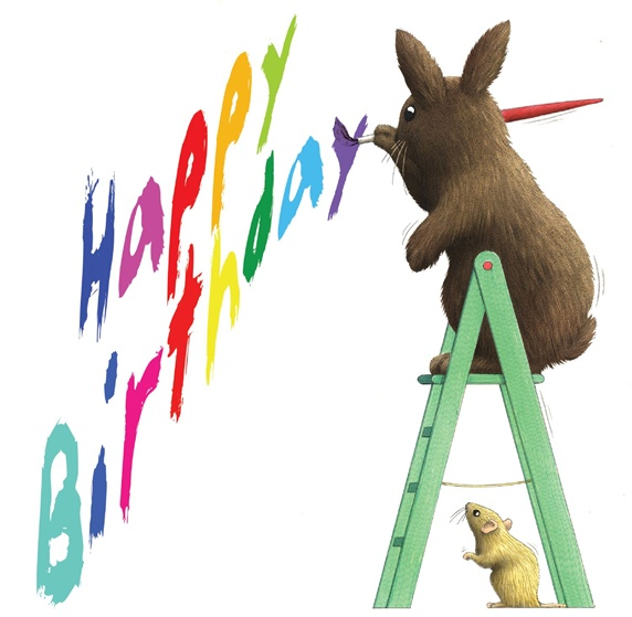 Hare with brush and mouse on white background painting birthday wishes