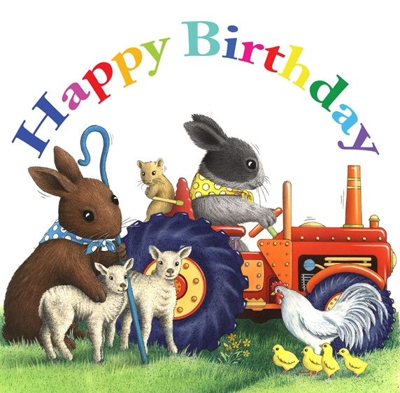 Hare, rabbit and mouse with farm animals and happy birthday sign on white background