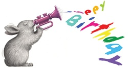 Rabbit playing happy birthday on trumpet on white background