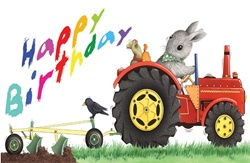 Rabbit and mouse plowing and happy birthday sign on white background