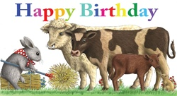 Birthday card with with mouse and cows in pasture