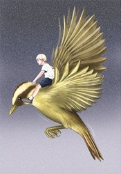 Boy flying on bird