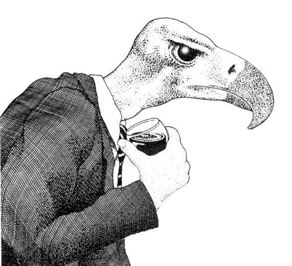 View of bird wearing suit and holding wine glass