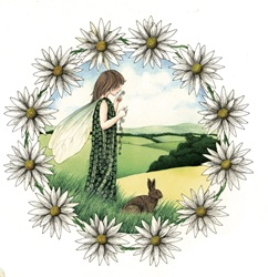 Girl and rabbit in meadow