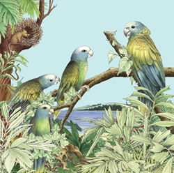 Parrots perching on branch, mouse building bird's nest