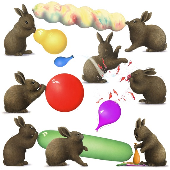 Bunnies playing with balloons