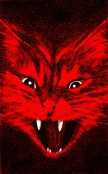 Cat with open mouth and fangs in red